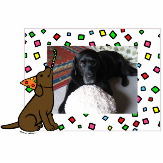 Birthday Chocolate Labrador Cartoon Photo Frame Statuette