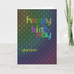 """Birthday circles for Grandson Card<br><div class=""""desc"""">A design of circles with a font that fits between them. A birthday card with a masculine feel for a grandson.</div>"""