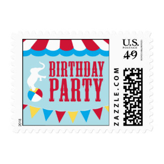 Birthday Circus Postage Stamp