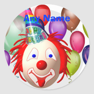 Birthday clown, Any Name Classic Round Sticker