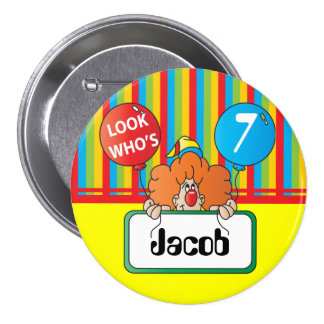 Birthday Clown | Personalize 3 Inch Round Button