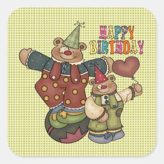 Birthday Clowns Square Sticker