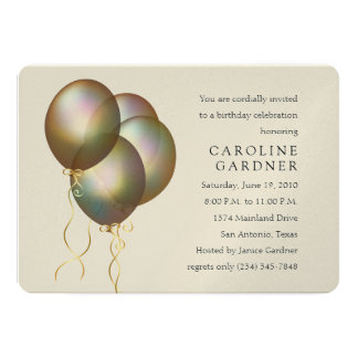 Birthday Colored Balloons 5x7 Paper Invitation Card