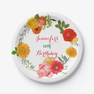 Birthday Colorful Floral Wreath