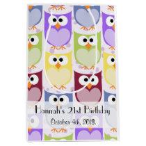 Birthday - Colorful Owls - Green Blue Purple Medium Gift Bag