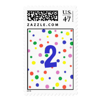 Birthday colorful polka dots stamps, two year old postage