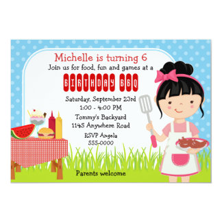 """Birthday Cookout for Girls 5"""" X 7"""" Invitation Card"""