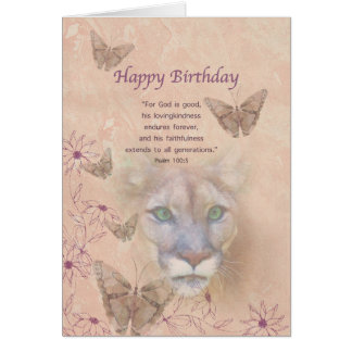 Birthday, Cougar and Butterflies Card