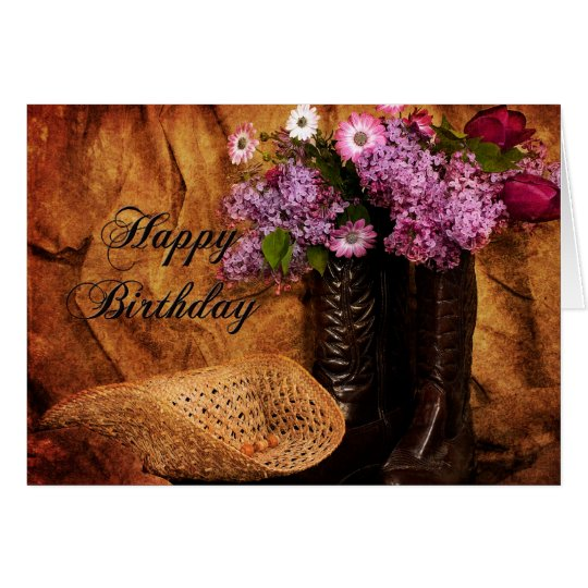 Birthday - Country Western Style - Girls Card