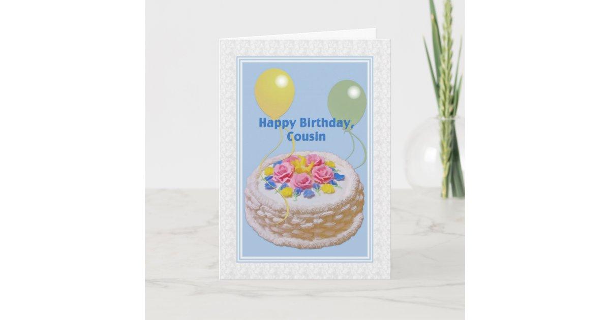 Terrific Birthday Cousin Cake And Balloons Card Zazzle Com Funny Birthday Cards Online Aboleapandamsfinfo