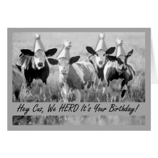 Birthday Cousin Funny Cows Card