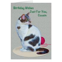 Birthday, Cousin, Green-Eyed Cat Card