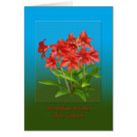 Birthday, Cousin, Red Day Lilies Greeting Card
