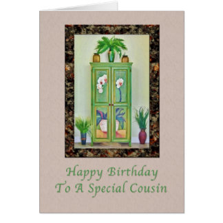 Birthday, Cousin, Still Life with Antique Cabinet Card