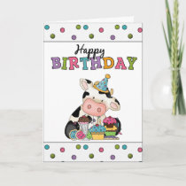 Birthday Cow Greeting card