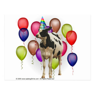 Birthday Cow Theme Party Postcard