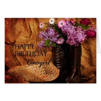 Birthday - Cowgirl - Boots and Flowers Card