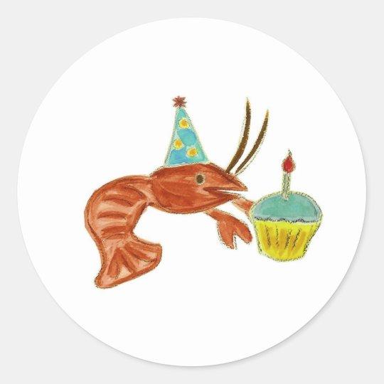 Birthday Crawfish Cupcake Classic Round Sticker