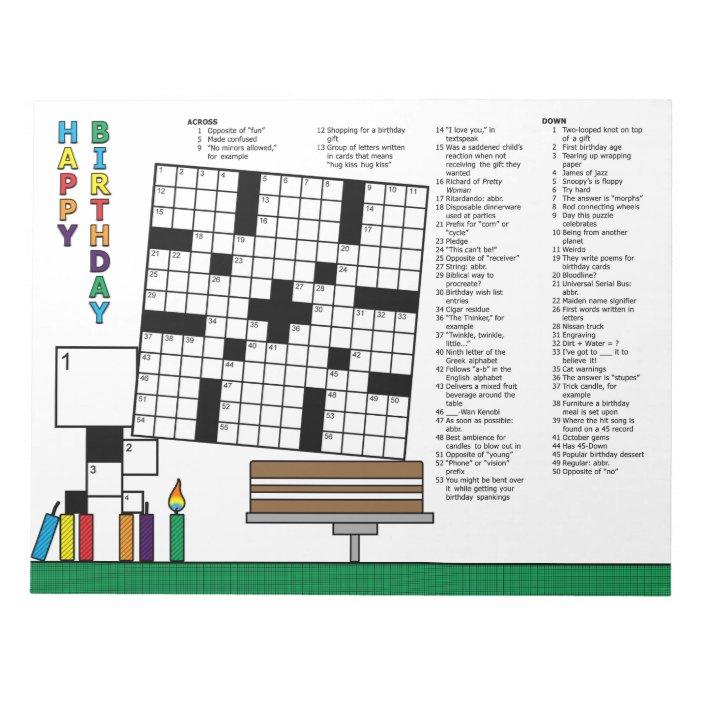 Birthday Crossword Puzzle 59 Clues Notepad Zazzle Com