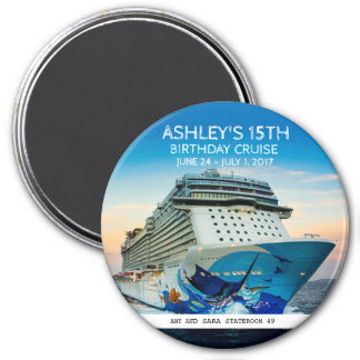 Birthday Cruise Custom Round Magnet