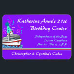 """Birthday Cruise Custom Stateroom Door Marker Magnet<br><div class=""""desc"""">Going on a sea cruise to celebrate a birthday? Make it even more special with a custom magnet for your cabin door that will be a fun souvenir afterwards. On this one, along with your celebration information, cruise details, and cabin occupant names is a cute little cruise ship that&#39;s really...</div>"""