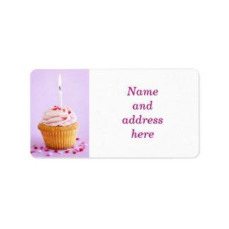 Birthday cupcake address label