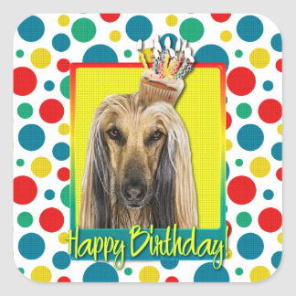 Birthday Cupcake - Afghan Square Sticker