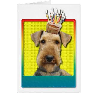 Birthday Cupcake - Airedale Greeting Card