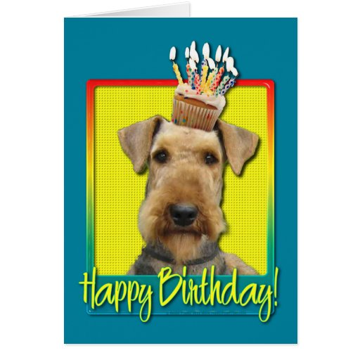 Birthday Cupcake Airedale Greeting Card