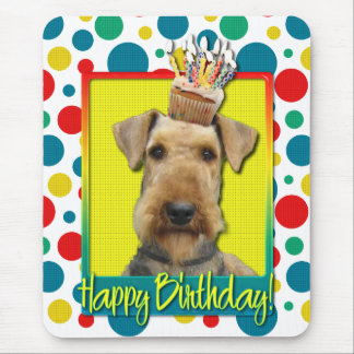 Birthday Cupcake - Airedale Mouse Pad