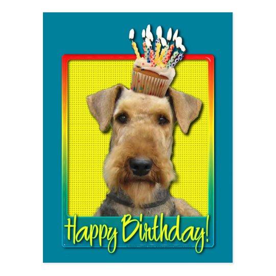 Birthday Cupcake Airedale Postcard