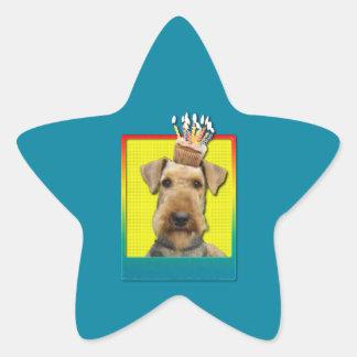 Birthday Cupcake Airedale Star Sticker