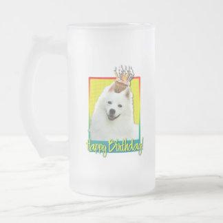 Birthday Cupcake - American Eskimo Frosted Glass Beer Mug