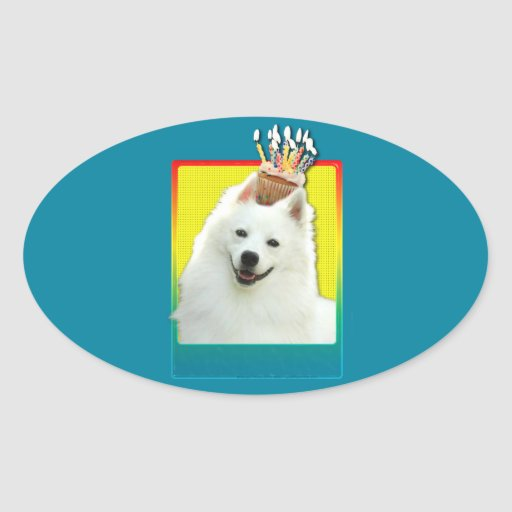 Birthday Cupcake - American Eskimo Stickers