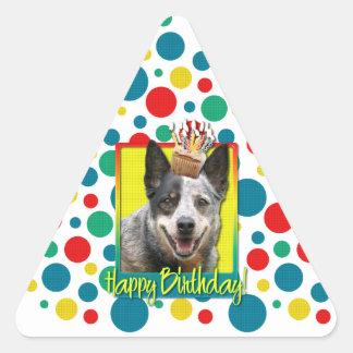 Birthday Cupcake - Australian Cattle Dog Triangle Sticker