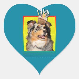 Birthday Cupcake - Australian Shepherd - Dustine Heart Sticker