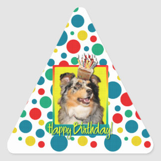 Birthday Cupcake - Australian Shepherd - Dustine Triangle Sticker