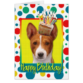 Birthday Cupcake - Basenji Card