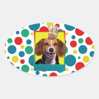 Birthday Cupcake Beagle Oval Sticker
