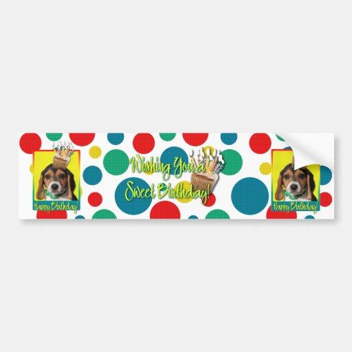 Birthday Cupcake - Beagle Puppy - Chloe Bumper Stickers