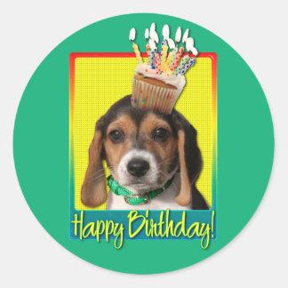 Birthday Cupcake - Beagle Puppy - Chloe Round Sticker