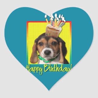 Birthday Cupcake - Beagle Puppy - Chloe Heart Sticker