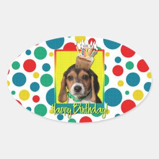 Birthday Cupcake - Beagle Puppy - Chloe Oval Stickers
