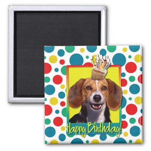 Birthday Cupcake - Beagle Refrigerator Magnets