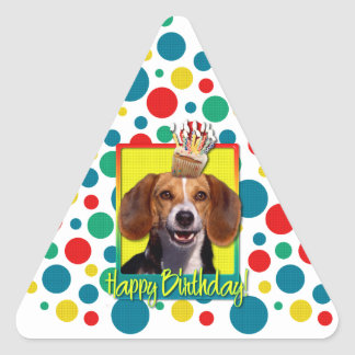 Birthday Cupcake - Beagle Triangle Sticker