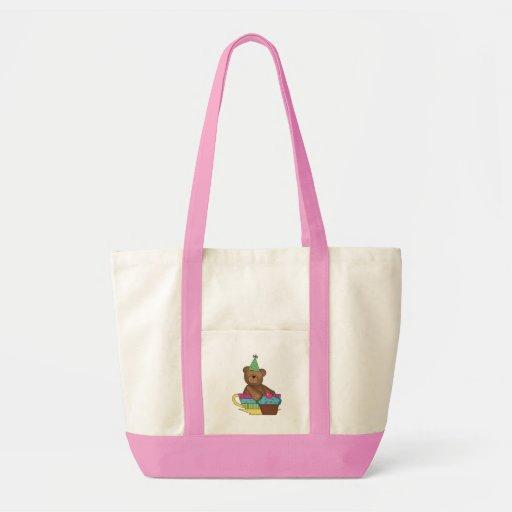 Birthday Cupcake Bear Canvas Bag