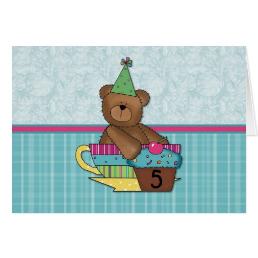 Birthday Cupcake Bears Age 5 Greeting Card