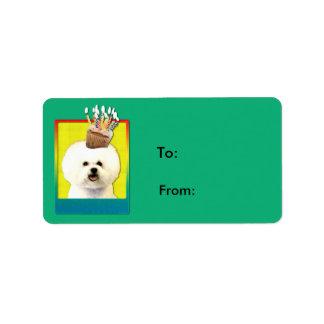 Birthday Cupcake - Bichon Frise Personalized Address Label