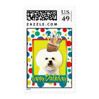 Birthday Cupcake - Bichon Frise Stamp