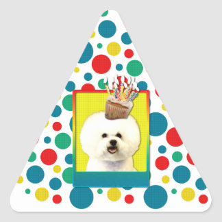 Birthday Cupcake - Bichon Frise Triangle Sticker